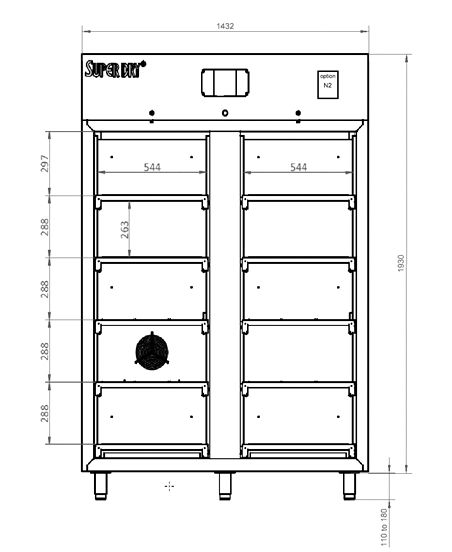 Dry cabinet XSD 1402-54 technical drawing