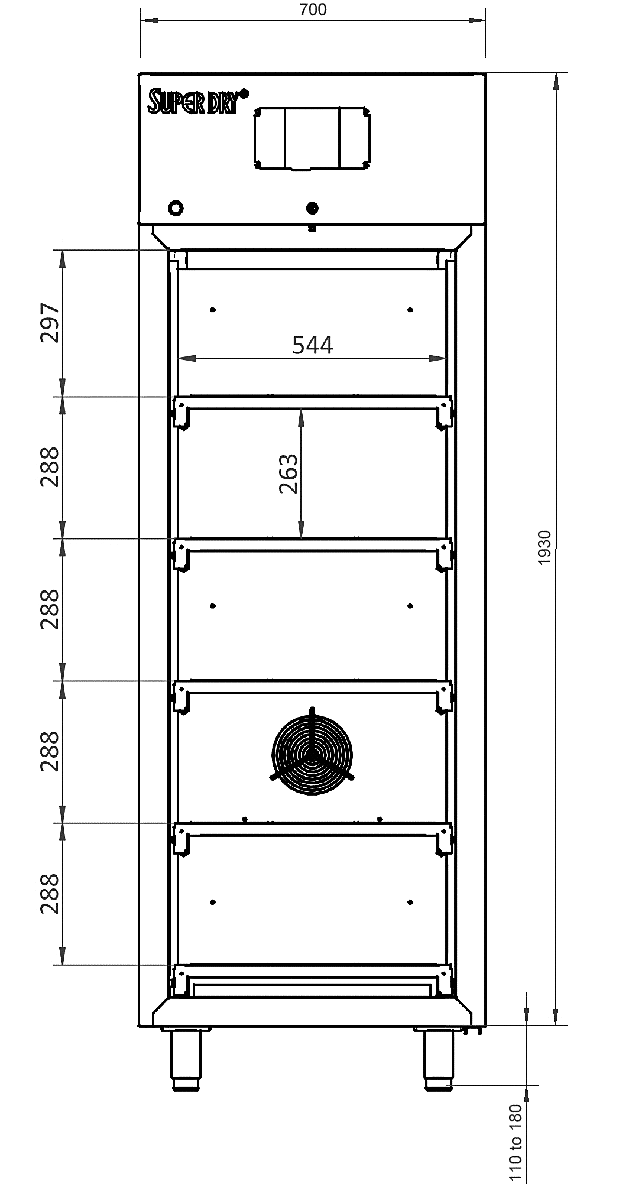 Dry cabinet XSDB 701 Technical Drawing