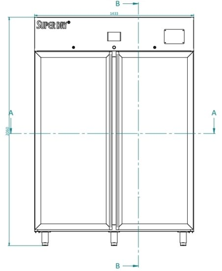 Dry cabinet XSD 1412-54 technical drawing